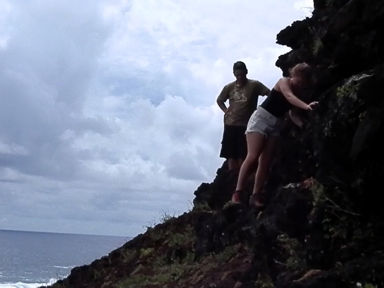Pitcairn Island, Big Flower - The Trio Scaling the Cliffs