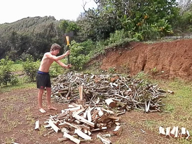 Pitcairn Island, Big Flower - Chopping Firewood