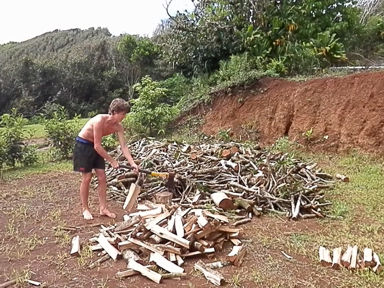 Pitcairn Island, Big Flower - Splitting Firewood