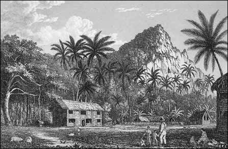 Early Pitcairn village 1890